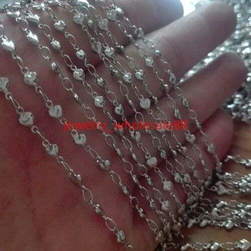 5M//10M Bulk Jewelry Finding Strong joint Heart Link Chain Stainless steel Silver