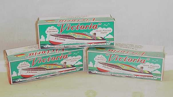 THREE VICTORIA TIN BOATS STEAM POWERED WITH BOX OLD UNUSED STOCK