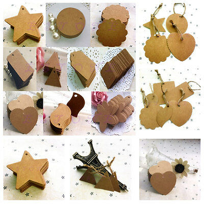 100pcs Marked Blank Card Brown Blank Kraft Paper Hand Draw Tags Labeled Card
