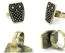 Adjustable vingtage antique style gold black owl ring