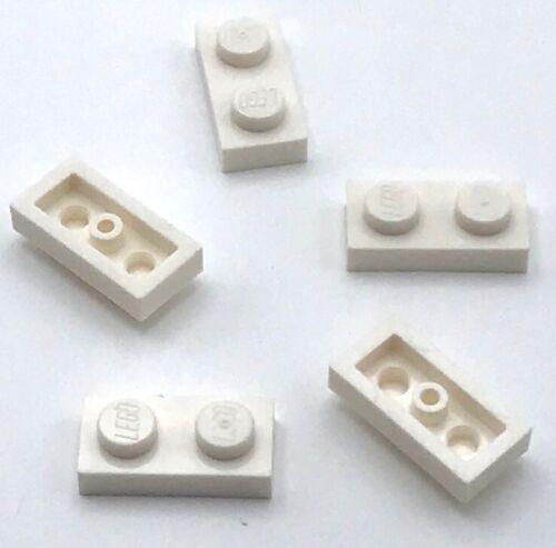 Lego 5 New White Plates 1 x 2 Dot Pieces