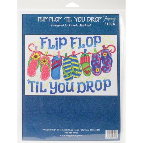 "14 Count Imaginating Counted Cross Stitch Kit 7/""x10.75/""-flip Flop Til You Drop"