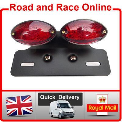 NUMBER PLATE BRACKET PLATE LIGHT CAFE RACER BLACK REAR CAT EYE STOP TAIL L9