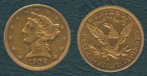1906-S-US-Liberty-Coronet-Head-Half-Eagle-5-Five-Dollars-Gold-Coin