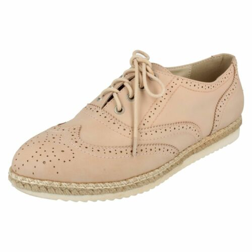 Spot On F8R0138 Ladies Synthetic Brogue Pink// Espadrille Trim Shoes R29A