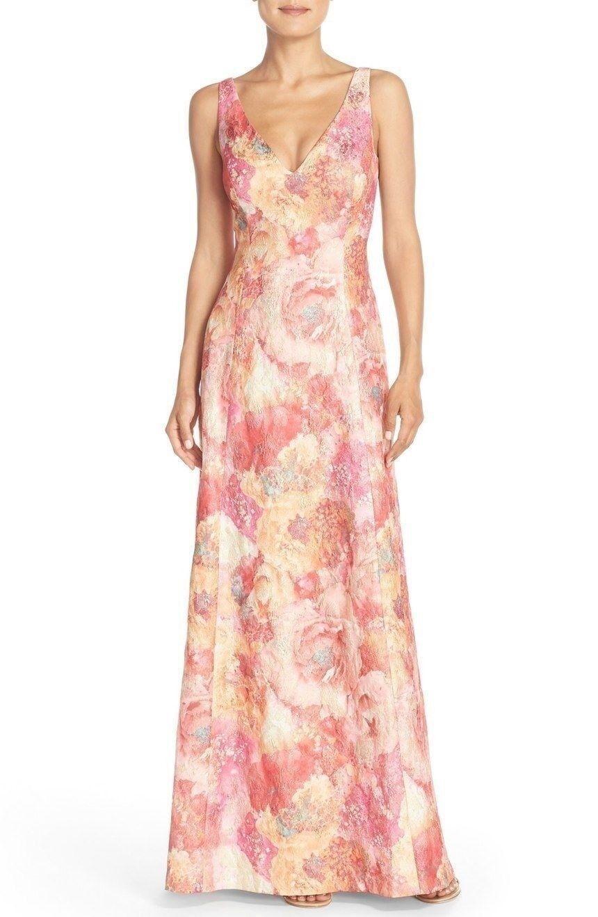 Aidan Mattox Sleeveless Floral Jacquard Maxi Gown NWT 0 2 4 14