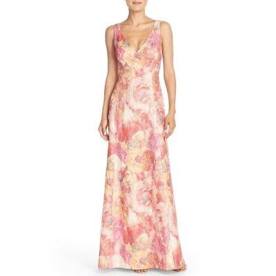 Aidan Mattox Sleeveless Floral Jacquard Maxi Gown NWT 0 2 4 14 $750