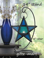 Hanging Blue Moroccan Star Candle Holder Lantern Light Outdoor & 14 Table Stand