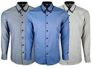 Mens-Long-Sleeve-Double-Collar-Smart-Casual-Formal-Tailored-Fit-Shirt-Top-406
