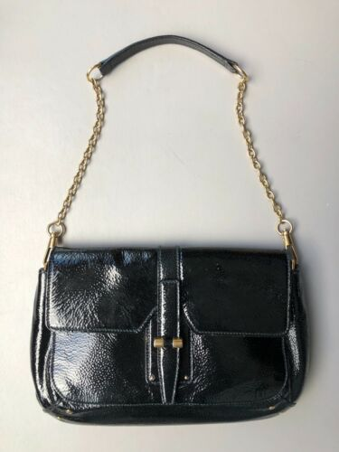 Laurent Leath Clutch Brass Bag To Black Patent Converts Chain Yves Saint Handbag HwWfq1f5