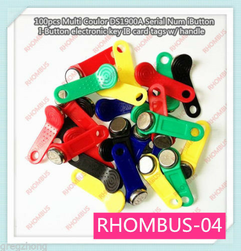 DS1990A F5 Serial Num iButton Mixed Color Handleelectronic key IB tags 100 pcs
