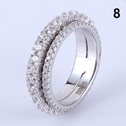 Damen Zirkon Ring Drehende Ehering Verlobungsring Geschenke Schmuck Größe 6-9