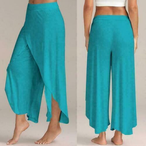 Womens Wide Leg High Loose Chiffon Slit Flared Palazzo Trousers Harem Yoga Pants