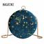 Round-Shape-Night-Sky-Stars-Velvet-Evening-Blue-Party-Clutch-Crossbody-Purse miniature 12