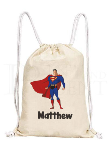 Personalised Childrens Boy Superman Justice League Drawstring Canvas Gym// PE Bag