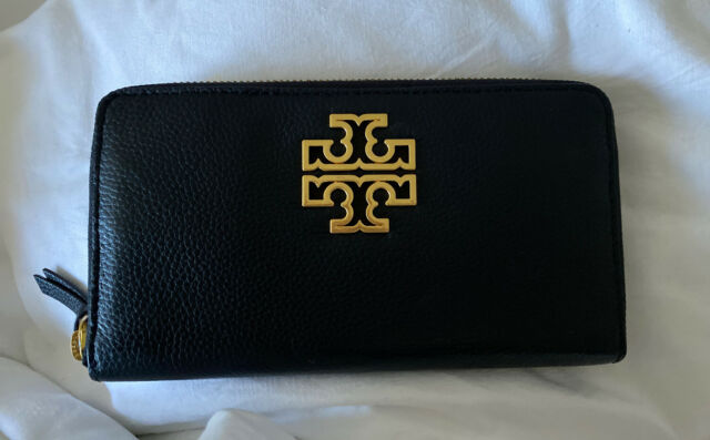 Tory Burch Wallet BRITTEN Zipper Around Continental Pebbled Leather Black Gold