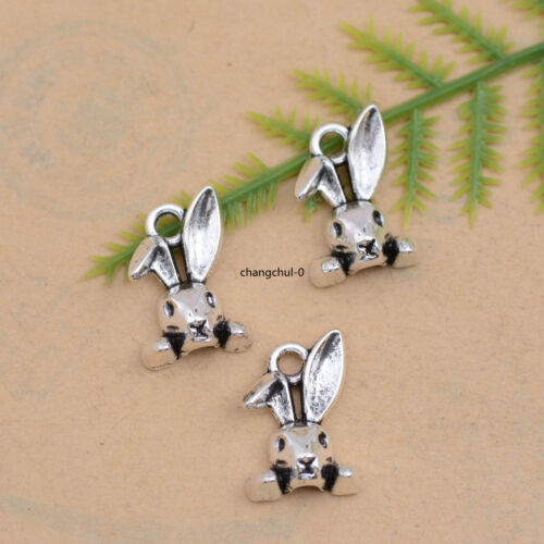 10//30//50Pcs Tibetan Silver Rabbit Head Charm Bracelet Necklace Pendant DK151