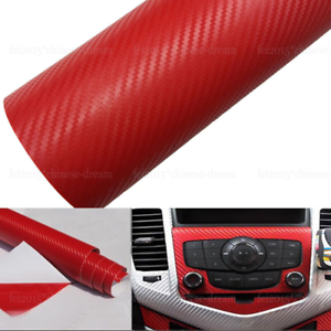 """12/"""" x 50/"""" 3D Red Carbon Fiber Vinyl Car DIY Wrap Sheet Roll Film Sticker Decal"""