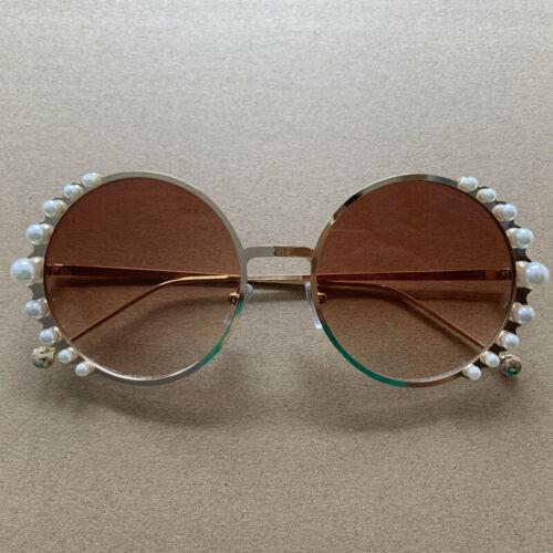 Fashion Round Shade Pearl Decor Sunglasses Women UV400 Retro Sun Glasses Eyewear