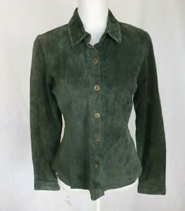 Cabi-143-Green-Leather-Button-Jacket-Small