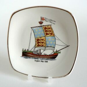 MIDWINTER-HISTORIC-SHIPS-ENGLISH-SHIP-1300-PIN-TRAY-PICKLE-DISH-VINTAGE-F42-VGC