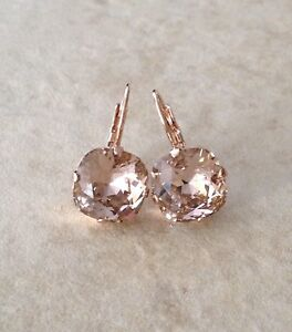 Details About Morganite Pink Crystal Rose Gold Earrings Swarovksi Cushion Cut
