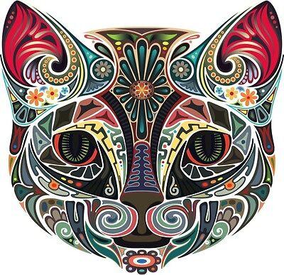 FLORAL PRINT CAT #2 IRON ON T SHIRT TRANSFER / VINTAGE ANIMAL ART HIPSTER RETRO