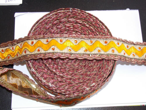 35mm orange wine gold crystal embroidered ribbon applique trimming decor braid