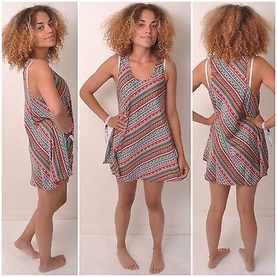 VEST DRESS TOP SIZE 6 8 10 SUMMER SHIRT LONG LADIES RACER SLEEVELESS WOMENS BOHO