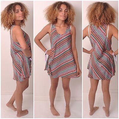 VEST DRESS TOP SIZE 6 8 10 SUMMER SHIRT LONG LADIES RACER SLEEVELESS WOMENS BOHO