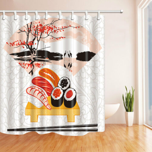 Japanese Cuisine Shower Curtain Watercolor landscap Print for Bathroom 70 Inches