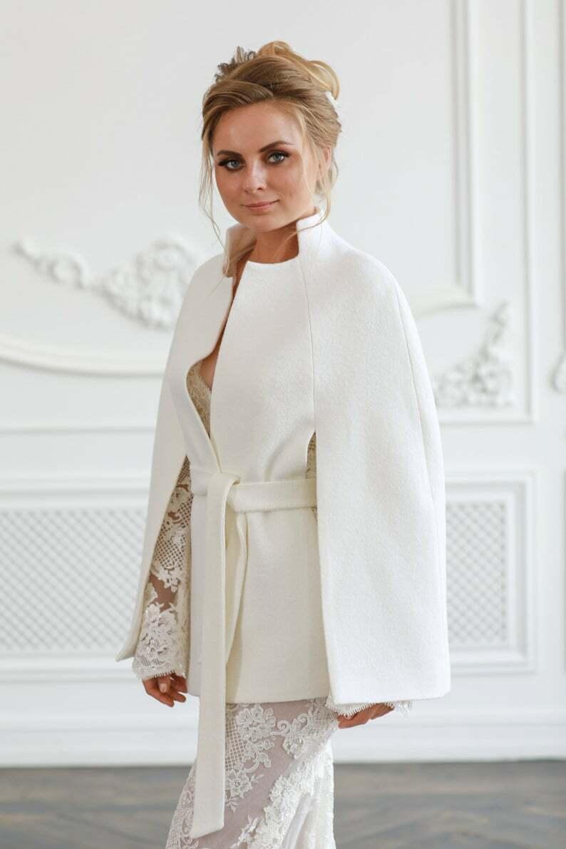 NEW Wedding Coat Bridal Jacket, Elegant Ivory Coat For Bride S,M,L,XL