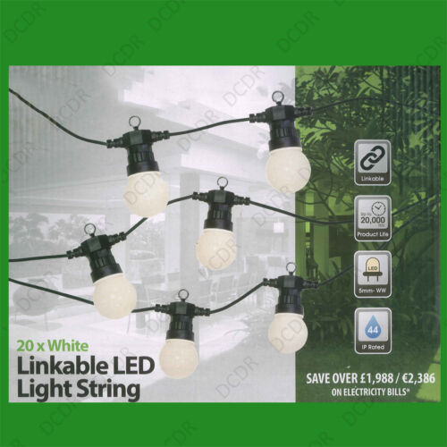 2x 14.5m IP44 20 LED Light Bulbs Outdoor Indoor Festoon Party String Lighting