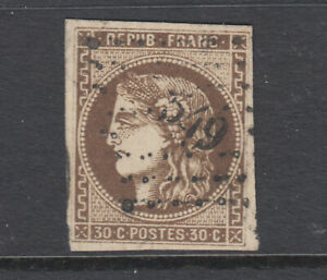 France-Sc-46-used-1870-71-30c-brown-on-yellowish-Ceres-4-wide-margins-sound