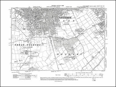 Cleethorpes Clee 1908 W Grimsby S old map Lincolnshire 22SE repro