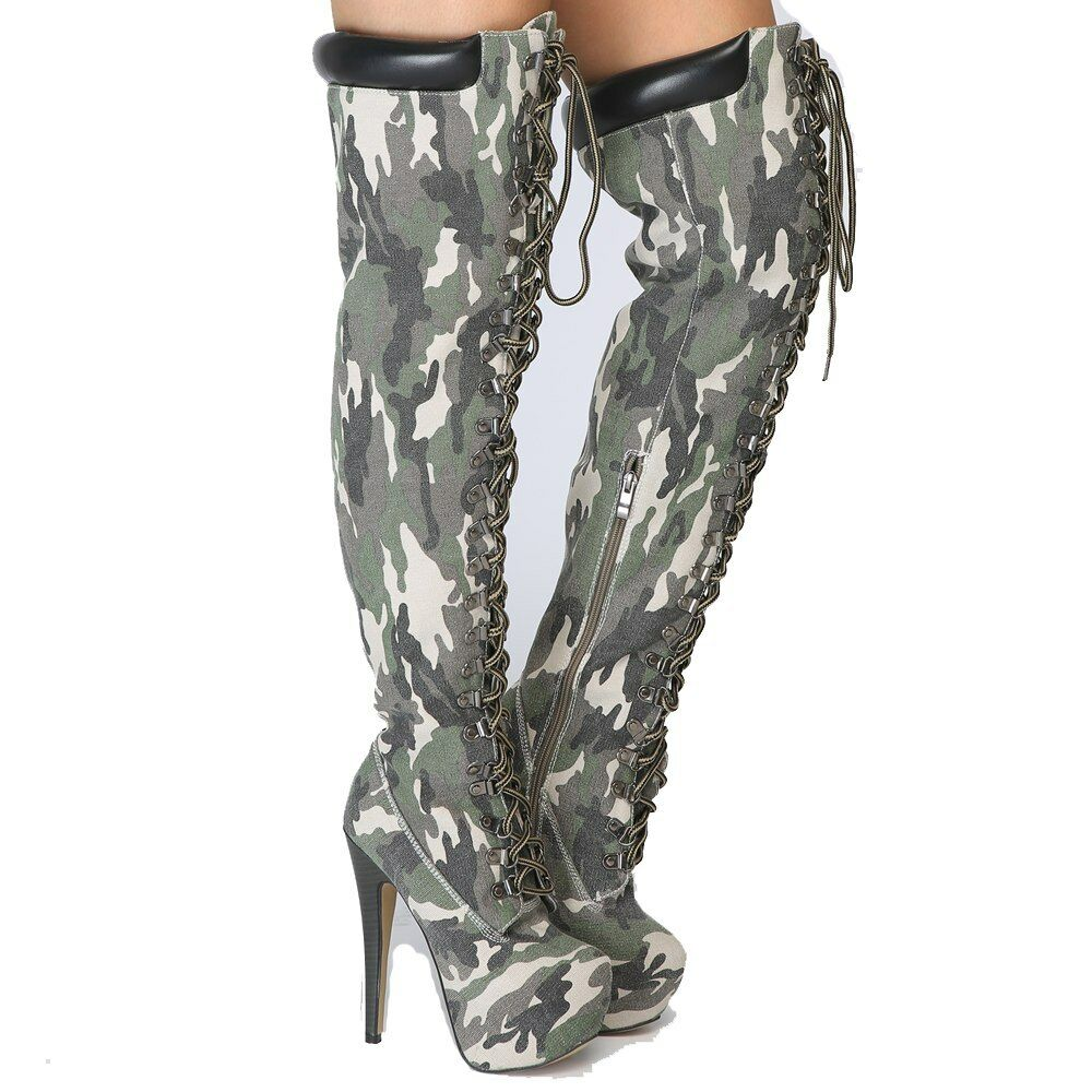 Super Stylish Women Over-the-Knee Boots Thign High Camouflage Brown shoes Women