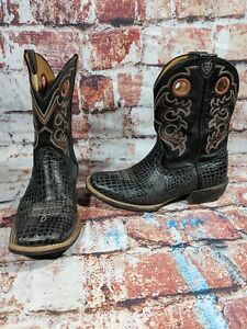 ad4b6cdbef3 Details about ARIAT Cowboy BOOTS BOYS 4 Heritage Rough Stock Square Toe  Brown/Black 10016239