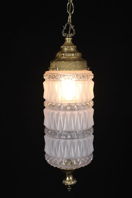 Mid Century Pendant Swag Light Hollywood Regency Satin Frosted Glass Gilt Chain