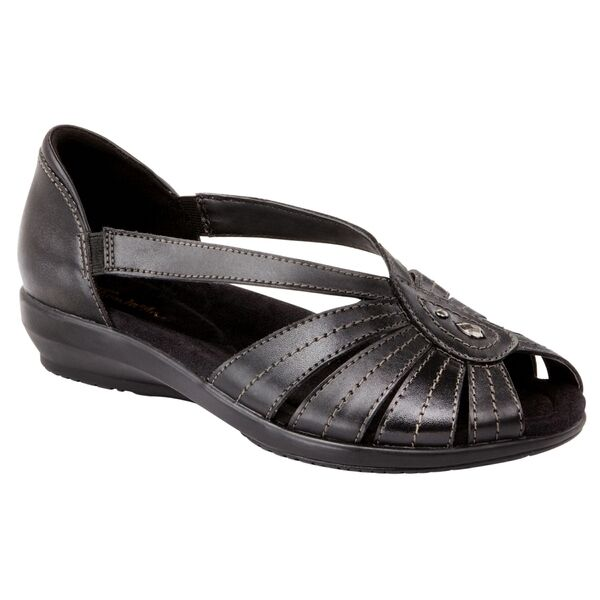 e47a4cdee2f Thom McAn Women s Mallory Black Leather Wide Width Casual Sandal Shoes Size  5 for sale online
