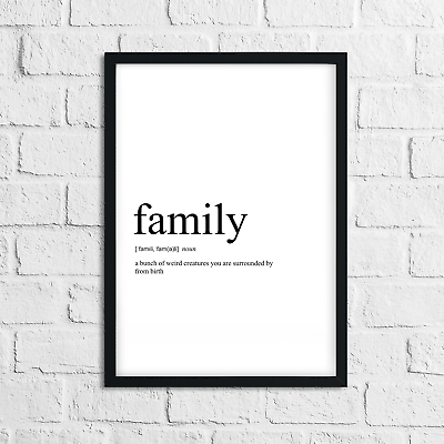 Funny Family Meaning Print Definition Typography Home Decor Wall