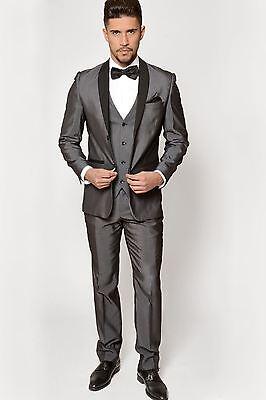 Mens Marc Darcy Designer Grey Tuxedo Three Piece Dinner Suit