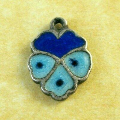 Vintage German Silver Charm Art Deco Enamel Two-Tone Blue PANSY Garden FLOWER