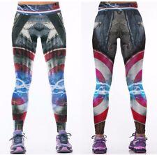 Marvel Comics CAPTAIN AMERICA Logo Yoga Pants OSFM Leggings