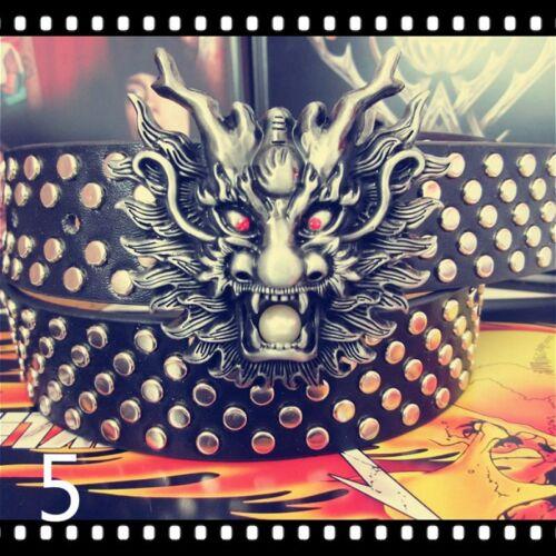 Men Unisex Biker Punk Dragon Belt Studded Faux Leather Gothic Long Fashion Retro