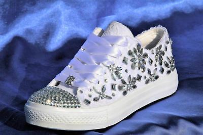 White Wedding sneakers with rhinestones