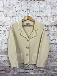 April-Cornell-100-Wool-Beige-Cream-Sweater-Jacket-Size-Large-Cardigan