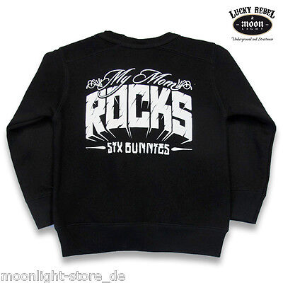 Attento Six Bunnies Sweater My Mom Rocks-pullover Bambini Rockabilly Metal Biker Nuovo- Limpid In Sight