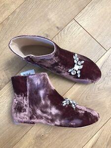 84fb3d5b1cc New Zara Girls Velvet Pink Mauve Ankle Slip On Booties Boots EUR 37 ...