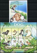 Guyana 2001 Hunde Dogs Pets Haustiere 7118-25 + Block 691 ** MNH