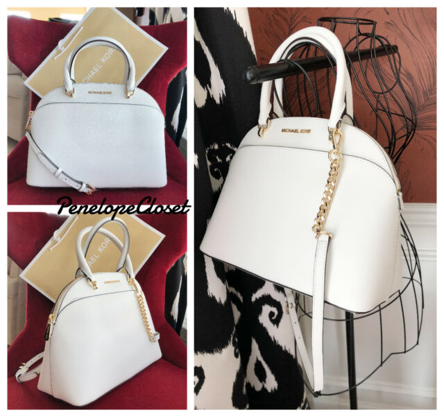 2367f408852fc5 ... NWT MICHAEL KORS SAFFIANO LEATHER EMMY LARGE DOME SATCHEL BAG IN OPTIC  WHITE ...